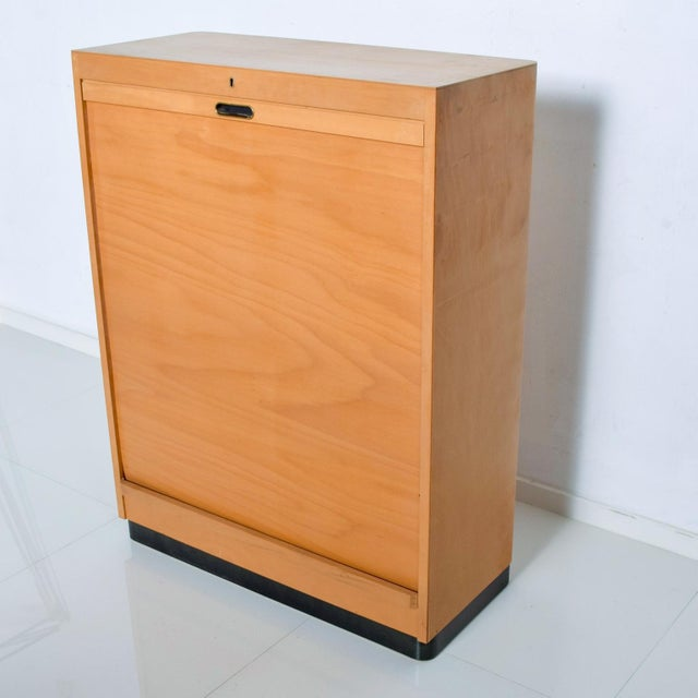 Wood Bauhaus Filing Cabinet Locking Tambour Door by Adolf Maier Germany For Sale - Image 7 of 11