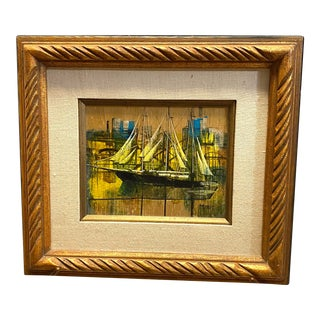 Vintage Oil on Canvas Signed Moss Nautical Sailboats Framed For Sale