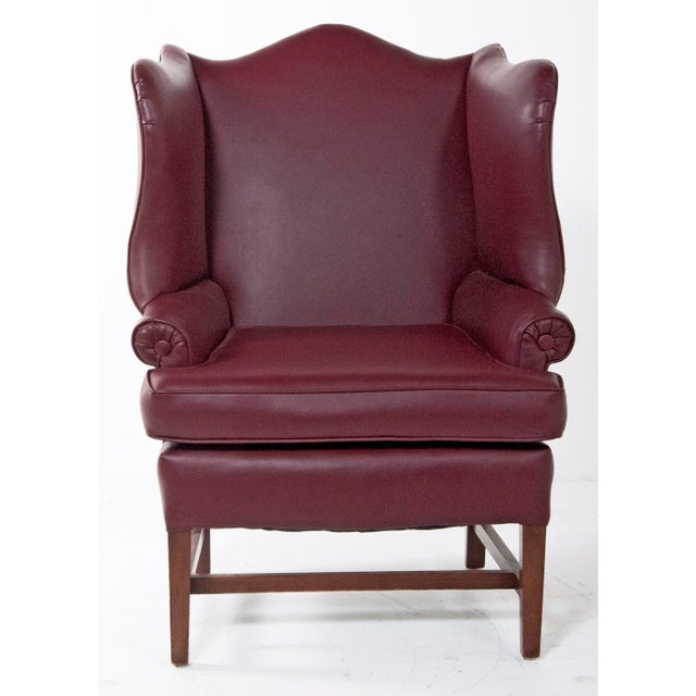 1920s English Vinyl Wingback Arm Chair For Sale In San Francisco - Image 6 of 8