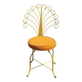 Vintage Hollywood Regency Orange Vanity Peacock Chair Mid Century Modern For Sale