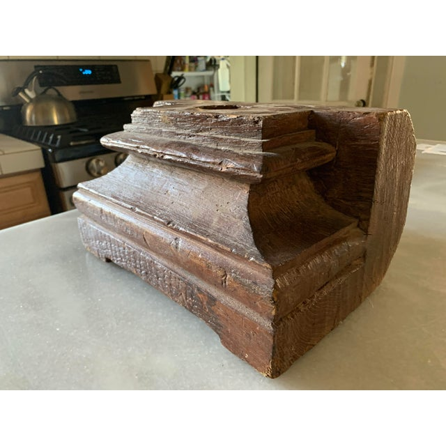 Wood 1860s Anglo Indian Carved Teak Architectural Column Base For Sale - Image 7 of 13
