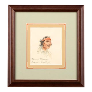 'Portrait of an Indian With a Red Bandana ' Painting For Sale