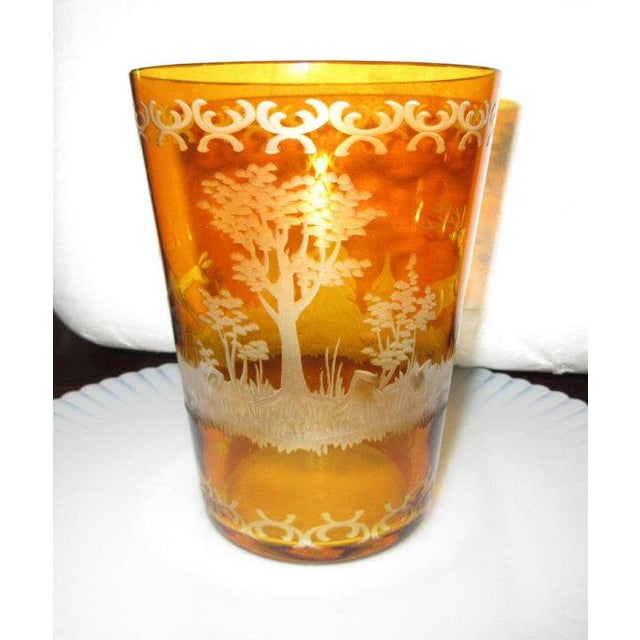 Czech Etched Amber Glass Tumbler - Image 7 of 7