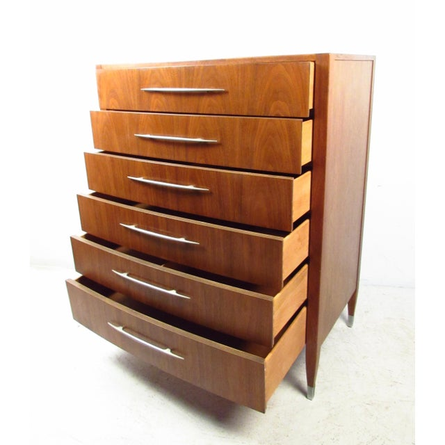 Mid-Century Modern Mid-Century Walnut Dresser With Chrome Accenting by Sligh Furniture For Sale - Image 3 of 13