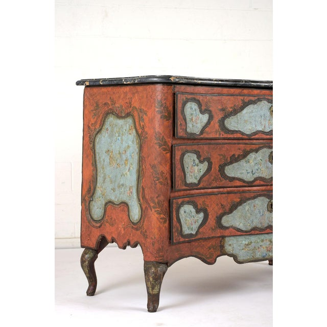 Stone Late 18th Century Polychrome Chest of Drawers For Sale - Image 7 of 13