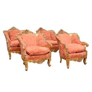 Vintage Mid Century Rococo Style Giltwood Bergères Chairs- Set of 4 For Sale