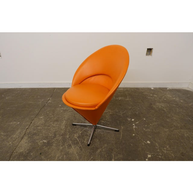 Vinyl Mid Century Modern Verner Panton Cone Chair For Sale - Image 7 of 7