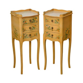 French Country Pair of Vintage Yellow Floral Painted 3 Drawer Stands For Sale