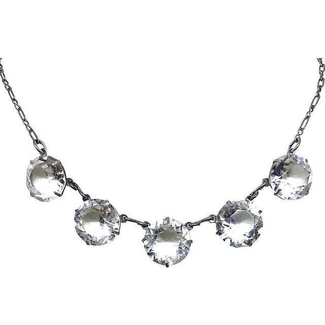 Traditional 1920s Faceted Crystal Necklace For Sale - Image 3 of 4