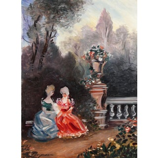 """""""Two Ladies"""" Oil and Pastel Watercolor Landscape by Erik Freyman For Sale"""