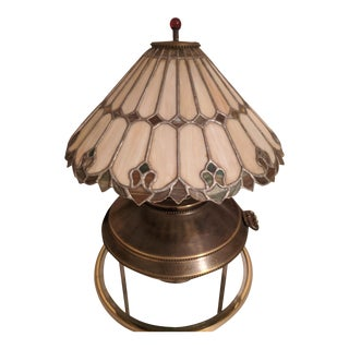 Vintage Art Noveau Lamp With Slag Glass Tiffany Style Shade For Sale