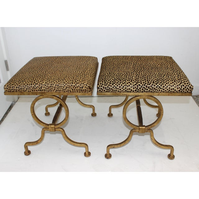 Yellow Vintage Arbus Style Gilt Wrought Iron and Faux Leopard Low Stools - a Pair For Sale - Image 8 of 9