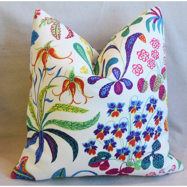 """Early 21st Century Designer Josef Frank Floral """"Under Ekatorn"""" Linen Feather/Down Pillows 18"""" Square - Pair For Sale - Image 5 of 11"""