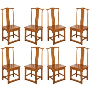 Chinese Ming Style Elm Dining Room Chairs - Set of 8 For Sale
