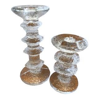 Iittala 1966 Timo Sarpaneva Vintage Glass Candlesticks- a Pair