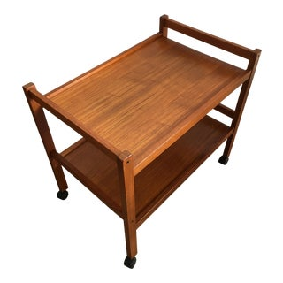 Vintage Mid-Century Modern Danish Teak Bar Serving Cart
