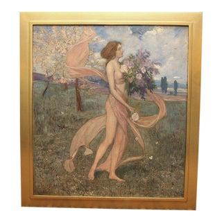 """Art Nouveau Painting by Alexander Goltz, """"Fruhling"""" For Sale"""