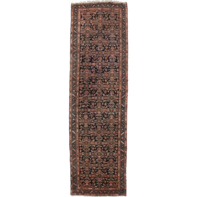 """Antique Persian Mahal Runner - 3'6"""" X 12' For Sale"""