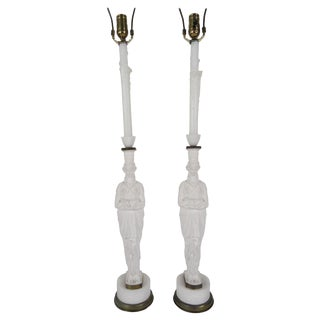 1930s French Female Figure Metal Lamps - a Pair For Sale