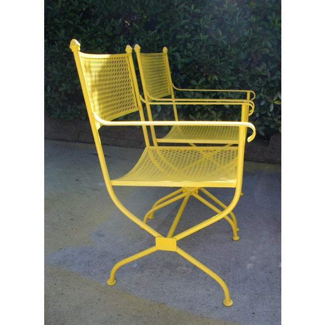 Salterini Vintage Mid Century Buttercup Yellow French Directoire Style Wrought Iron Patio Set- 5 Pieces For Sale - Image 4 of 13