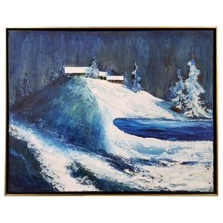California Nocturne Snow Scene Painting by Helen Tripi For Sale
