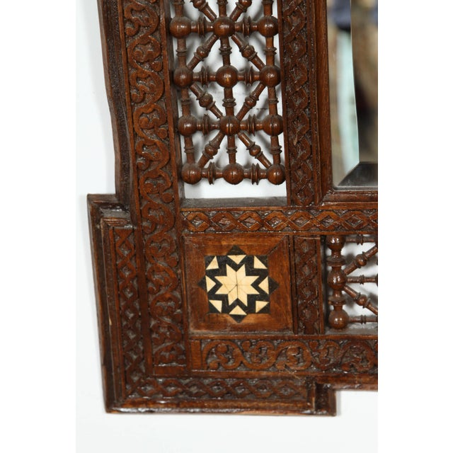 Pair of Syrian Damascus Mirrors Inlaid With Mother-Of-Pearl For Sale - Image 4 of 10