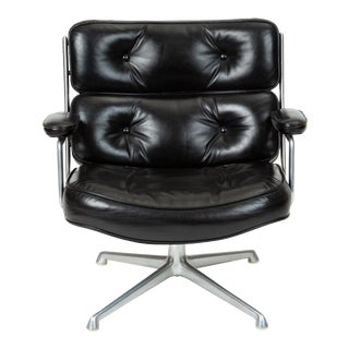 Ray + Charles Eames Time Life Lobby Chair in Black Leather For Sale