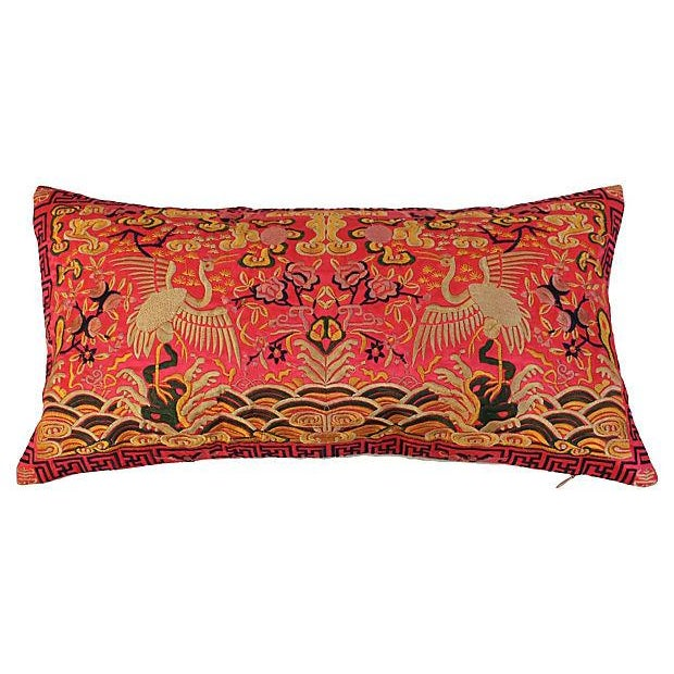 Asian Silk Embroidered Crane Boudoir Pillow For Sale - Image 3 of 8