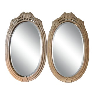 Vintage Pair Faux Bamboo Oval Mirrors-Pair For Sale