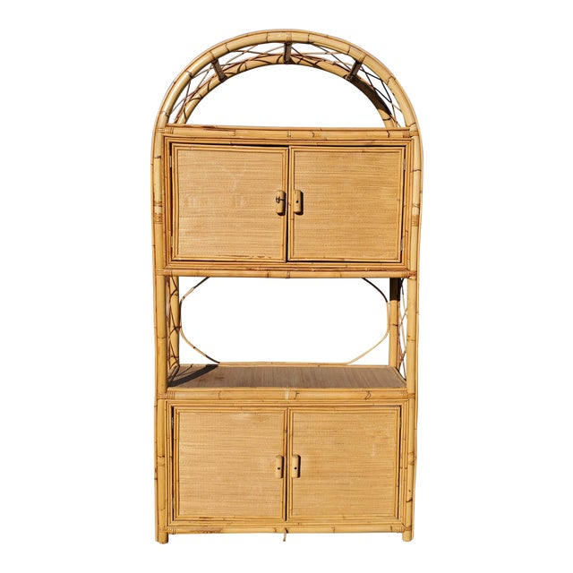 Vintage Bamboo Display Cabinet For Sale