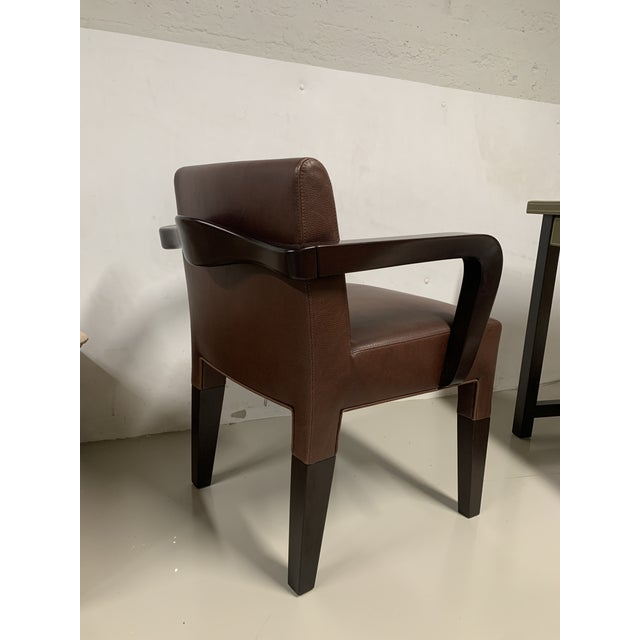 Minimalism Promemoria Brown Leather Chair For Sale - Image 3 of 8