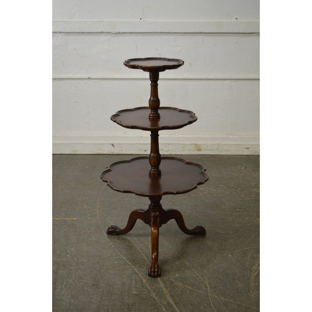 STORE ITEM #: 16037-fwmr Vintage Mahogany Chippendale Style Claw Foot 3 Tier Dumbwaiter Table AGE/COUNTRY OF ORIGIN -...