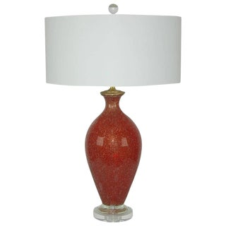 Vintage Murano Glass Table Lamp Pulegoso Red Gold For Sale