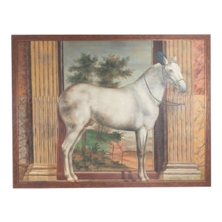 Mid Century Oil Painting on Canvas of a White Horse For Sale