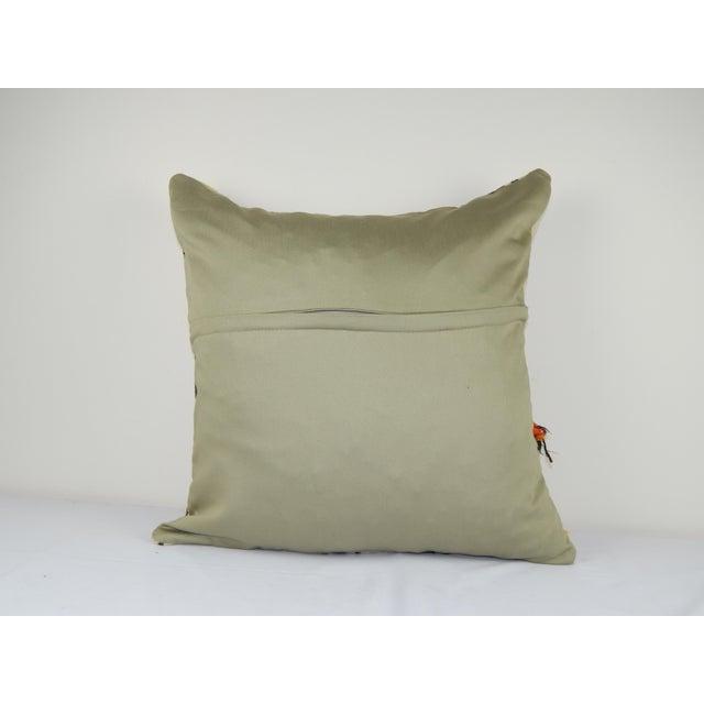"""Vintage Unique Turkish Hemp Kilim Pillow 24"""" X 24"""" For Sale - Image 4 of 5"""