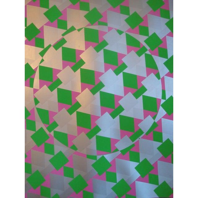 Mid-Century Modern Large Op Art Silver Metallic Silkscreen Poster Modernist Like Vasarely For Sale - Image 3 of 5