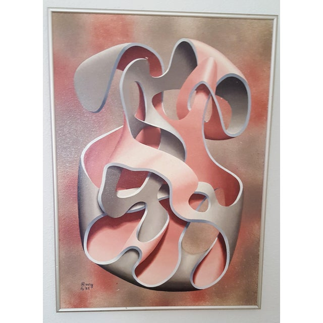 Pink & Grey Abstract Oil Painting - Image 2 of 4