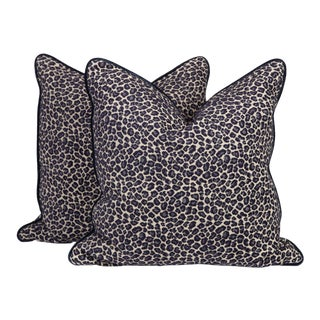 Navy Spotted Leopard Pillows, a Pair For Sale