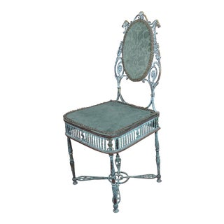 19th Century Bronze Vanity Chair W/ Lions Heads For Sale