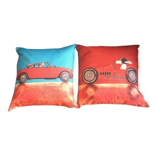 Doggy Race Car Pillows With Down Filling - A Pair For Sale