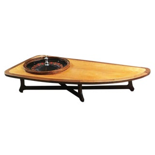 Mid-Century Modern Freeform Walnut Coffee Table With Roulette Wheel For Sale