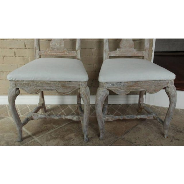 Pair of 18th Century Swedish Rococo Period Side Chairs For Sale - Image 4 of 11