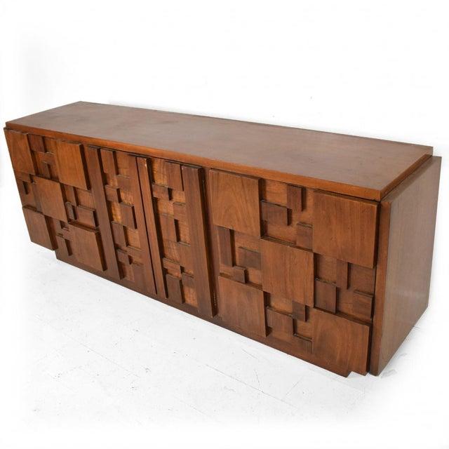 Mid-Century Modern Brutalist Patchwork Walnut Tiles Dresser by Lane For Sale - Image 10 of 10