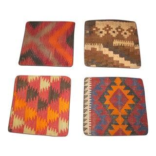 Vintage Afgan Kilim Pillow Cases - Set of 4 For Sale