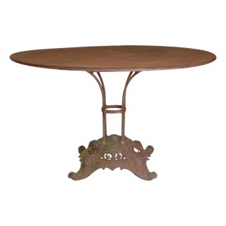 Round Iron Table With Beautiful Pedestal Base. For Sale