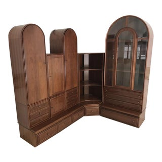 Impresssive Walnut Corner Cabinetry For Sale