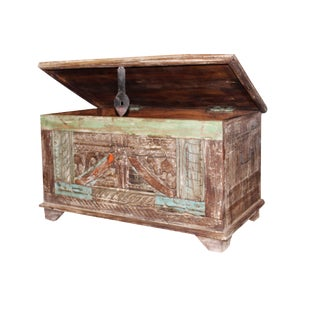 Vintage Indian Hand Carved Storage Trunk For Sale