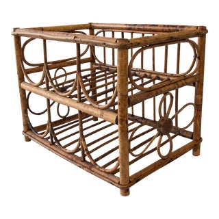 Vintage Tortoise Bamboo Wine Rack For Sale