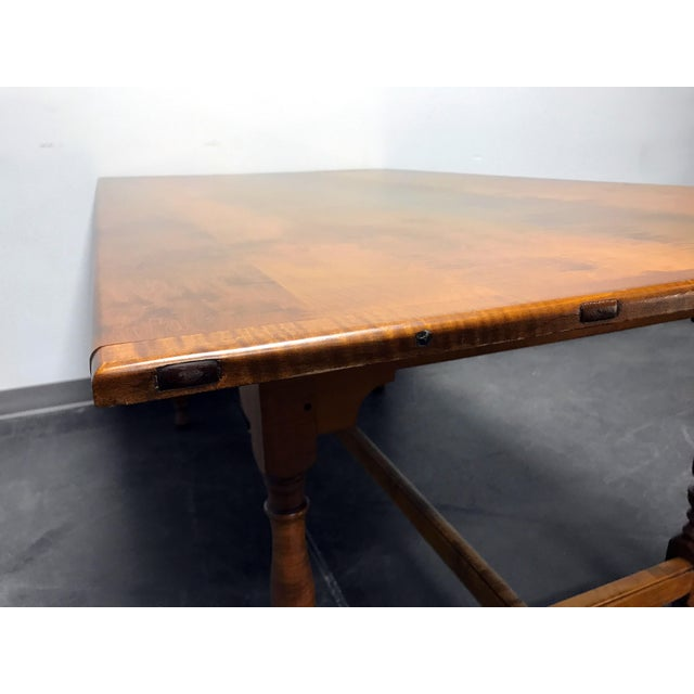 JL Treharn Tiger Maple Mission Shaker Amish Style Farmhouse Dining Table For Sale - Image 5 of 11