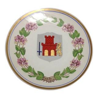 Upsala Ekeby Sweden Wall Plate Medieval Castle Turret Dragon Crest For Sale